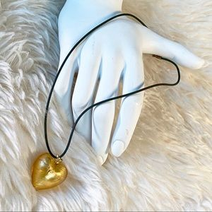 """Jewelry - 🗣 """"Gold Blown Glass Heart 18"""" Rubber Cord"""""""